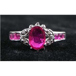 1.06 CT Ruby and .20 CT Diamond 10K White Gold Ring
