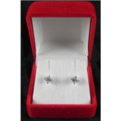.33 Carat Princess Cut 14K White Gold Diamond Earrings