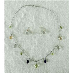 MULTI STONE TEARDROP EARRING/NECKLACE SET