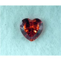 6.5 ct Natural Zircon Gemstone, Heart Shaped Red