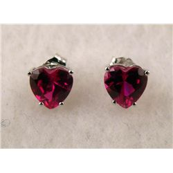 10K WHITE GOLD RUBY EARRINGS PAIR