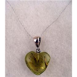 AMBER AND STERLING HEART PENDANT NECKLACE