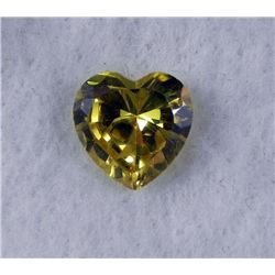 6.5 ct Natural Zircon Gemstone, Heart Shaped Yellow