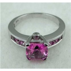 STERLING PLATINUM RING 1.33 PINK TOURMALINE