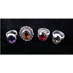 4 Sterling Rings, Citrine, Amethyst, Garnet