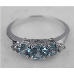STERLING PLATINUM RING 1.06 TOPAZ
