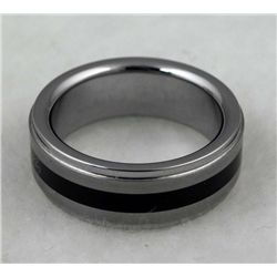 TUNGSTEN MANS RING W/ BLACK STRIPE