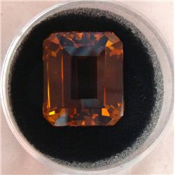 24.02 CT CITRINE TOP ORANGE EMERALD CUT GEMSTONE