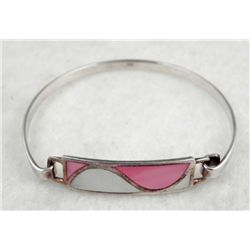 MOTHER OF PEARL STERLING PINK & WHITE BRACELET