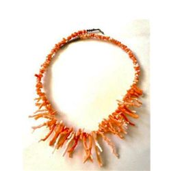 RARE Light Pink Salmon Coral Branch & Sterling Beaded