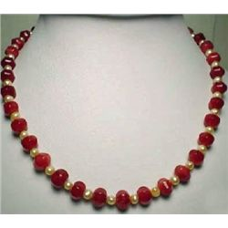 Natural Garnet Bead and Freshwater Pearl Necklace MWF17