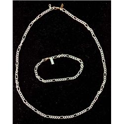 CHAIN BRACELET/NECKLACE SET 18 K GOLD PLATED SILVER