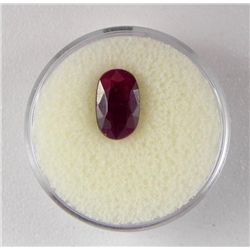 3 CT Ruby Natural Oval Gemstone Type II w/ Cert