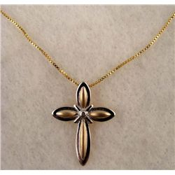 GOLD + SILVER CRUCIFIX CROSS PENDANT NECKLACE