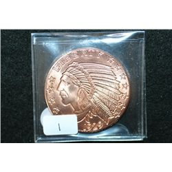 "Golden State Mint ""1929 Indian Chief $5 Gold Coin"" Copper Round; .999 Fine Copper 1 Oz."
