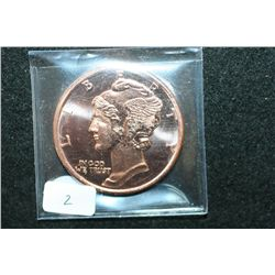 "2012 ""Mercury Dime"" Copper Round; .999 Fine Copper 1 Oz."