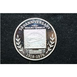 1976 US Postal Service 58th Anniversary First Regularly Scheduled US Airmail Silver Round; .999 Fine