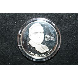 1973 Sterling Silver Round; Enrico Caruso In Pagliacci-American Opera's First Great Toner; .75+ Oz.