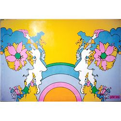 Peter Max, Mirrored Heads, Print on Wood Panel