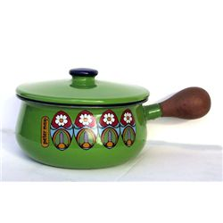 Peter Max, Green Sauce Pan, Enameled Pan with Wood Handle