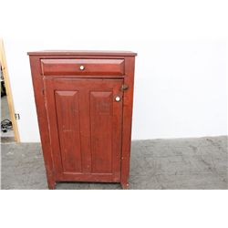 """EARLY JELLY CUPBOARD W/ 1 DRAWER & 1 DOOR - ORIG. RED PAINT - PORCELAIN KNOBS - 53"""" X 33"""""""