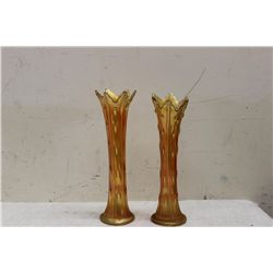 """PAIR OF MATCHING CARNIVAL VASES - 12"""" - MINT - 1 MONEY"""