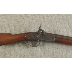 Percussion full stock rifle. Barrel & lock have brown p