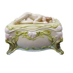 Lovely Porcelain Trinket Box depicting a slumbering nud