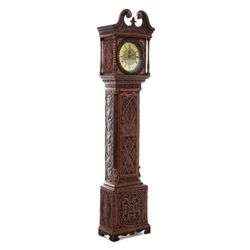 GT0424120057 Georgian carved oak tallcase clock circa 1