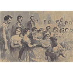 ORIGINAL Antique PRINT scene A Creole Night at the Fre