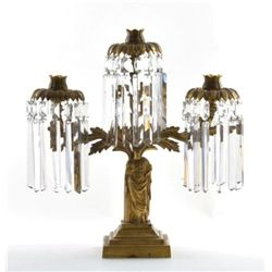 GT0424120069 Classical figural gilt-brass three-light g