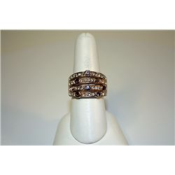 Lady's Fancy Yellow Sterling  White Sapphires, Rose Garnet & Amethyst Ring