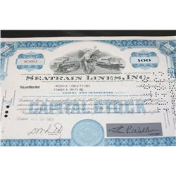 Seatrain Lines Inc. Stock Certificate Dated 1961