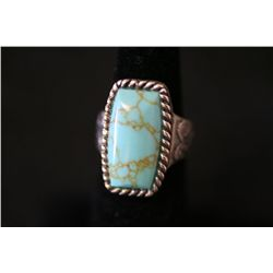 Sterling Silver Ring W/Rectangular Shaped Turquoise Gemstone