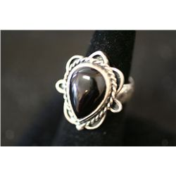 Sterling Silver Ring W/Tear Shaped Dark Gemstone