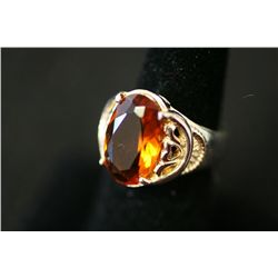 Sterling Silver Ring W/Oval Shaped Orange Gemstone