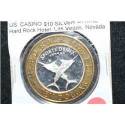 "Hard Rock Hotel Las Vegas NV ""Sports Delux Lounge"" Limited Edition Two-Tone $10 Gaming Token; .999 F"