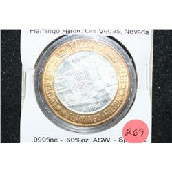 1994 Flamingo Hilton Las Vegas NV Limited Edition Two-Tone $10 Gaming Token; .999 Fine Silver .60% O
