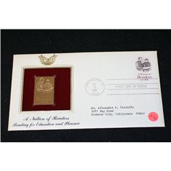 1984 First Day of Issue 22K Gold Replica Stamp W/Postal Stamp; A Nation of Readers Reading for Educa