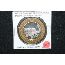 Maxim Hotel & Casino Las Vegas NV Limited Edition Two-Tone $10 Gaming Token; .999 Fine Silver .60% O