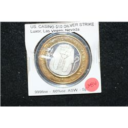 Luxor Las Vegas NV Limited Edition Two-Tone $10 Gaming Token; .999 Fine Silver .60% Oz. ASW