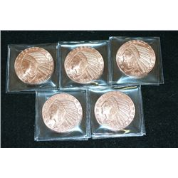 "Golden State Mint ""1929 $5 Indian Chief Gold Coin"" Copper Round; .999 Fine Copper 1 Oz.; Lot of 5"
