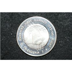 Sterling Silver Round; America's First Manned Orbital Flight-Friendship 7; John Glenn Jr. Completed