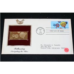 1983 First Day of Issue 22K Gold Replica Stamp W/Postal Stamp; Ballooning Navigating the Skies