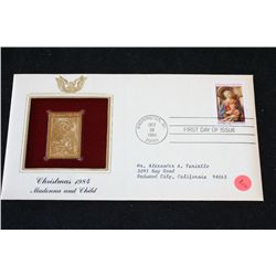 1984 First Day of Issue 22K Gold Replica Stamp W/Postal Stamp; Christmas 1984 Madonna and Child