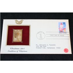 1984 First Day of Issue 22K Gold Replica Stamp W/Postal Stamp; Christmas 1984 Traditions of Christma