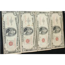 1953-B United States Note $5; Red Seal; Lot of 4