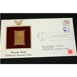 1984 First Day of Issue 22K Gold Replica Stamp W/Postal Stamp; Family Unity Traditional American Val