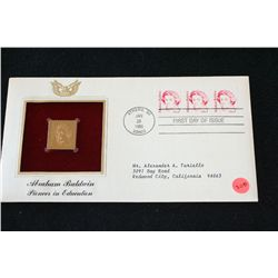 1985 First Day of Issue 22K Gold Replica Stamp W/Postal Stamp; Abraham Baldwin Pioneer in Education