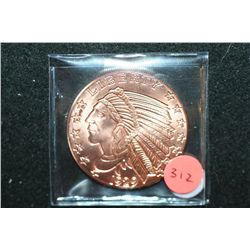 "Golden State Mint ""1929 $5 Indian Chief Gold Coin"" Copper Round; .999 Fine Copper 1 Oz."